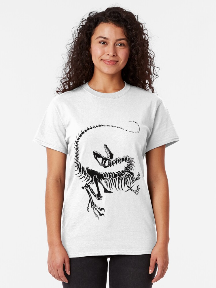 Vista alternativa de Camiseta clásica Velociraptor Skeleton Print