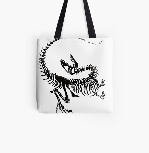 Velociraptor Skeleton Print All Over Print Tote Bag