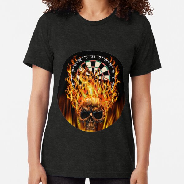 Flaming Skull Dartboard Tri-blend T-Shirt