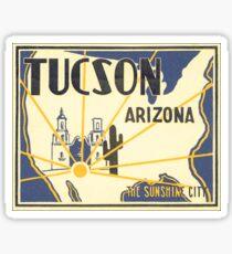 Tucson, Arizona The Sunshine City Vintage Retro Travel Advertising Poster Sticker
