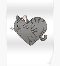 Heart Grey Cat Poster