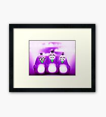 Penguin Triplet In Solid Purple Framed Print