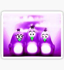 Penguin Triplet In Solid Purple Sticker
