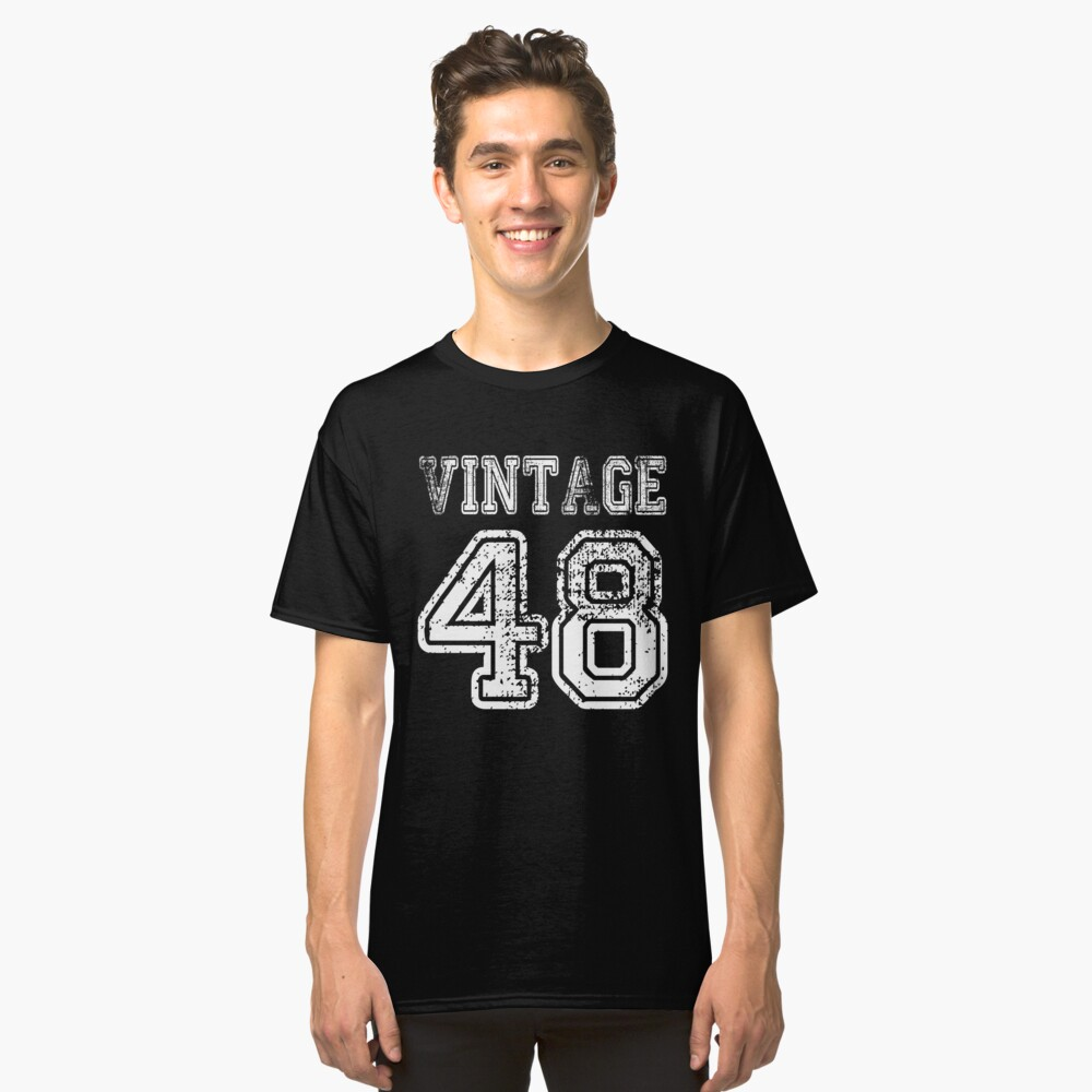 Vintage 48 2048 1948 T Shirt Birthday Gift Age Year Old Boy Girl Cute Funny Man Woman Jersey Style By Arcadetoystore