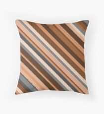 Rustic/Earthy Brown, Grey and Beige Stripes Throw Pillow