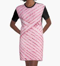 Pink Yarn Graphic T-Shirt Dress