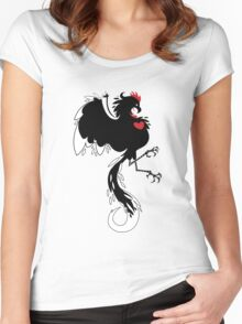 Love Cock Black Women's Fitted Scoop T-Shirt