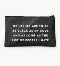 Lashes Quote Black Marble Makeup Bag Studio Pouch