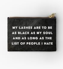 Lashes Quote Black Marble Makeup Bag Zipper Pouch