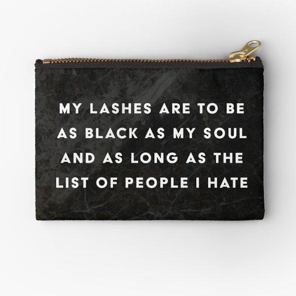 Lashes Quote Black Marble Makeup Bag Zipper Pouch