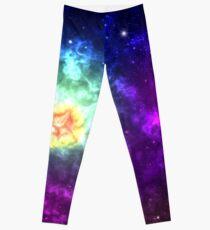 Colorful galaxy nebula shining stars and gas clouds Leggings