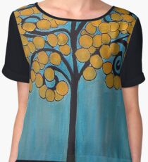 Happy Tree In Blue and Gold Chiffon Top