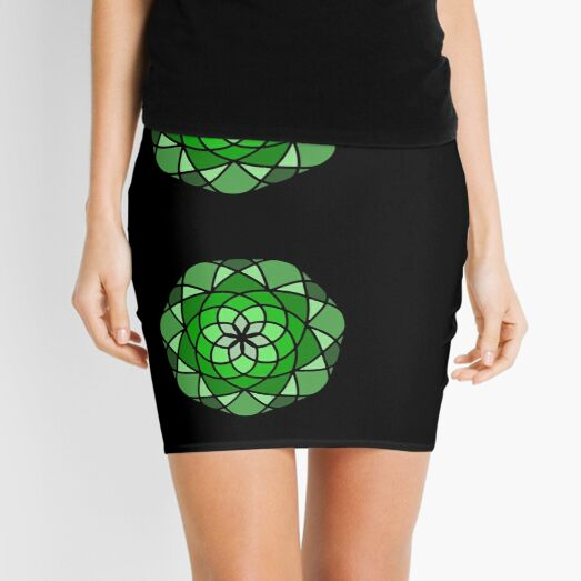 Head of Lettuce - Round Flower in Green Tones Mini Skirt