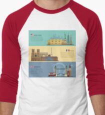 Set of Horizontal Travel Banners - New York, Paris and London. Each City is represented in its Famous Buildings. Vector illustration in flat style Men's Baseball ¾ T-Shirt