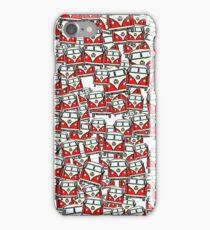 Red White Campervan (slightly cubist) iPhone Case/Skin