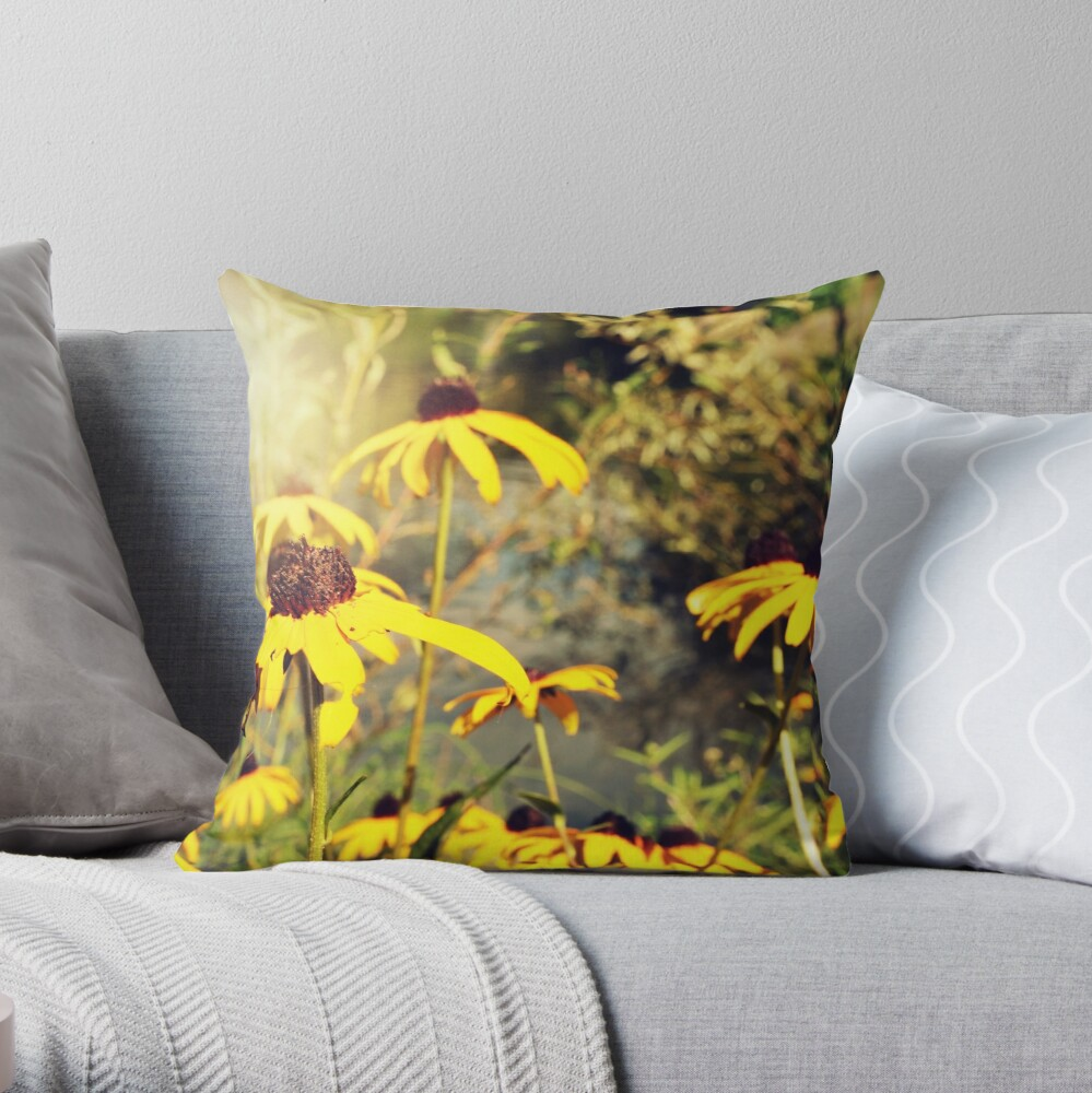 Sun-Drenched Flowers In Central Park  Throw Pillow
