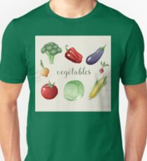 Vegetables Set in Vintage Style. Healthy Food T-Shirt