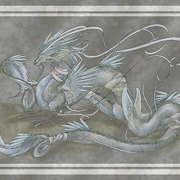 Chinese Style Moon Dragon Painting by DawnAllies