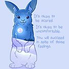 """""""It's Okay to Be Scared"""" Night Snow Rabbit by thelatestkate"""