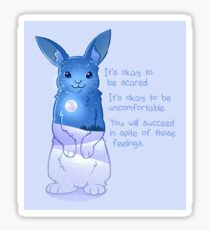 """It's Okay to Be Scared"" Night Snow Rabbit Sticker"