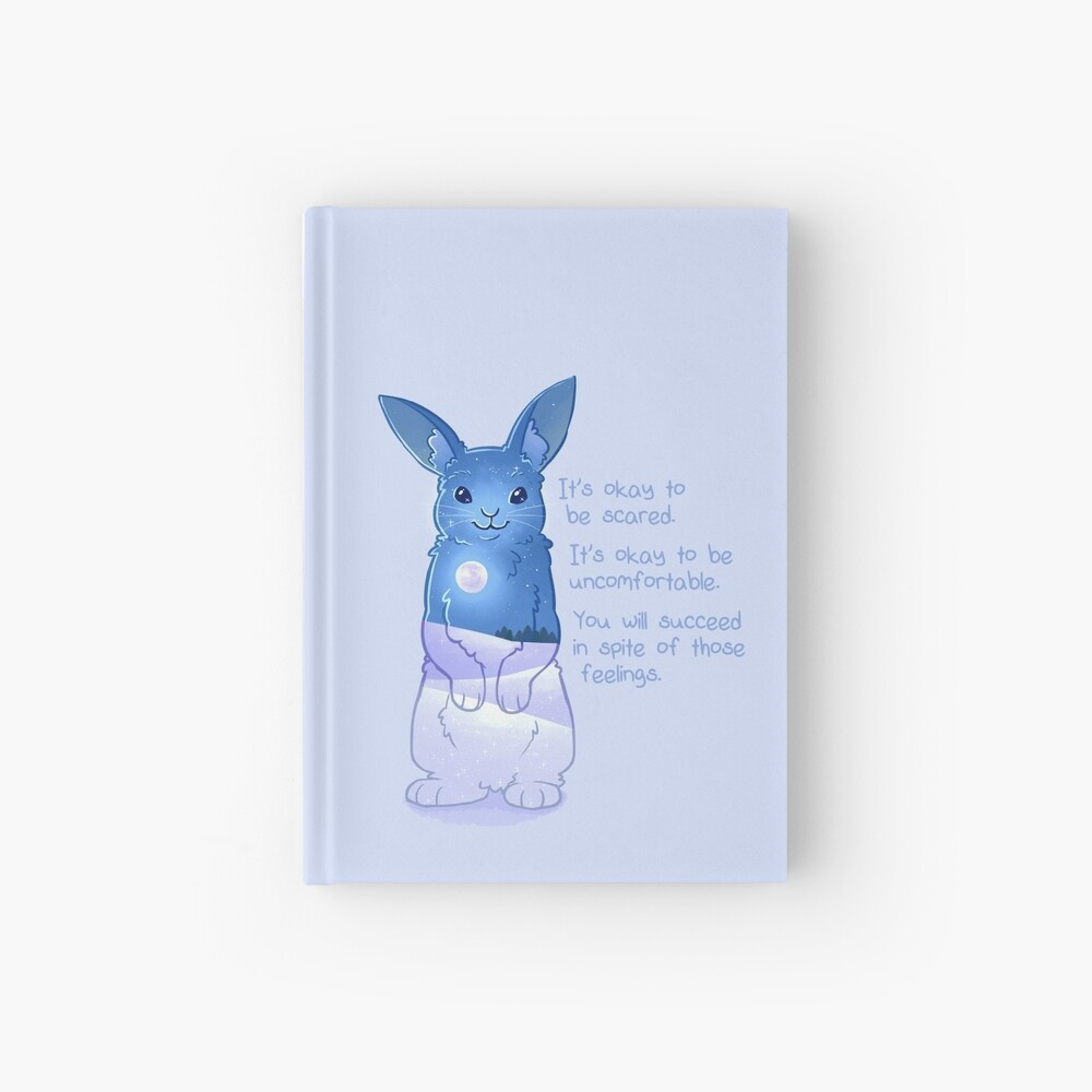"""""""It's Okay to Be Scared"""" Night Snow Rabbit Hardcover Journal"""
