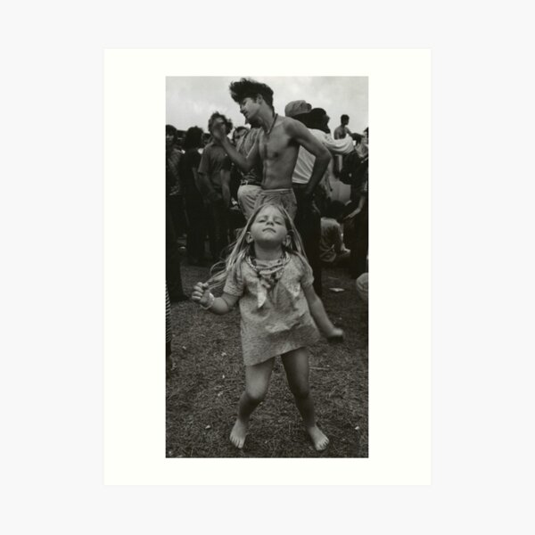 little girl dancing at woodstock Art Print