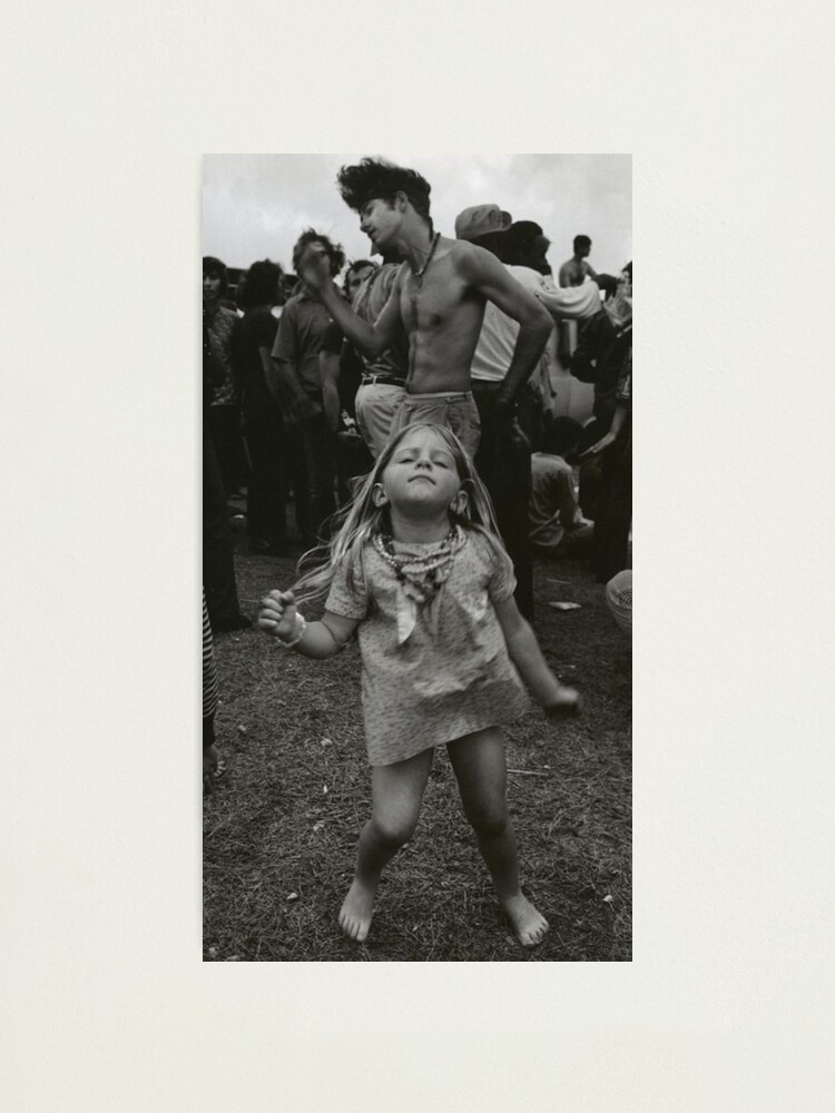 Alternate view of little girl dancing at woodstock Photographic Print