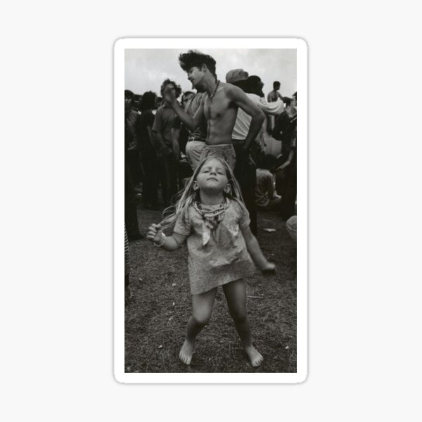 little girl dancing at woodstock Sticker