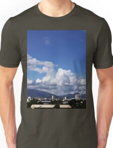 blue sky with clouds closeup clean and bright Unisex T-Shirt