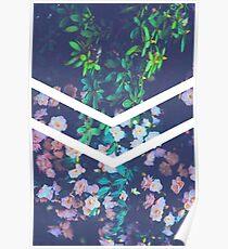 Tumblr Flower White Chevron Aesthetic  Poster