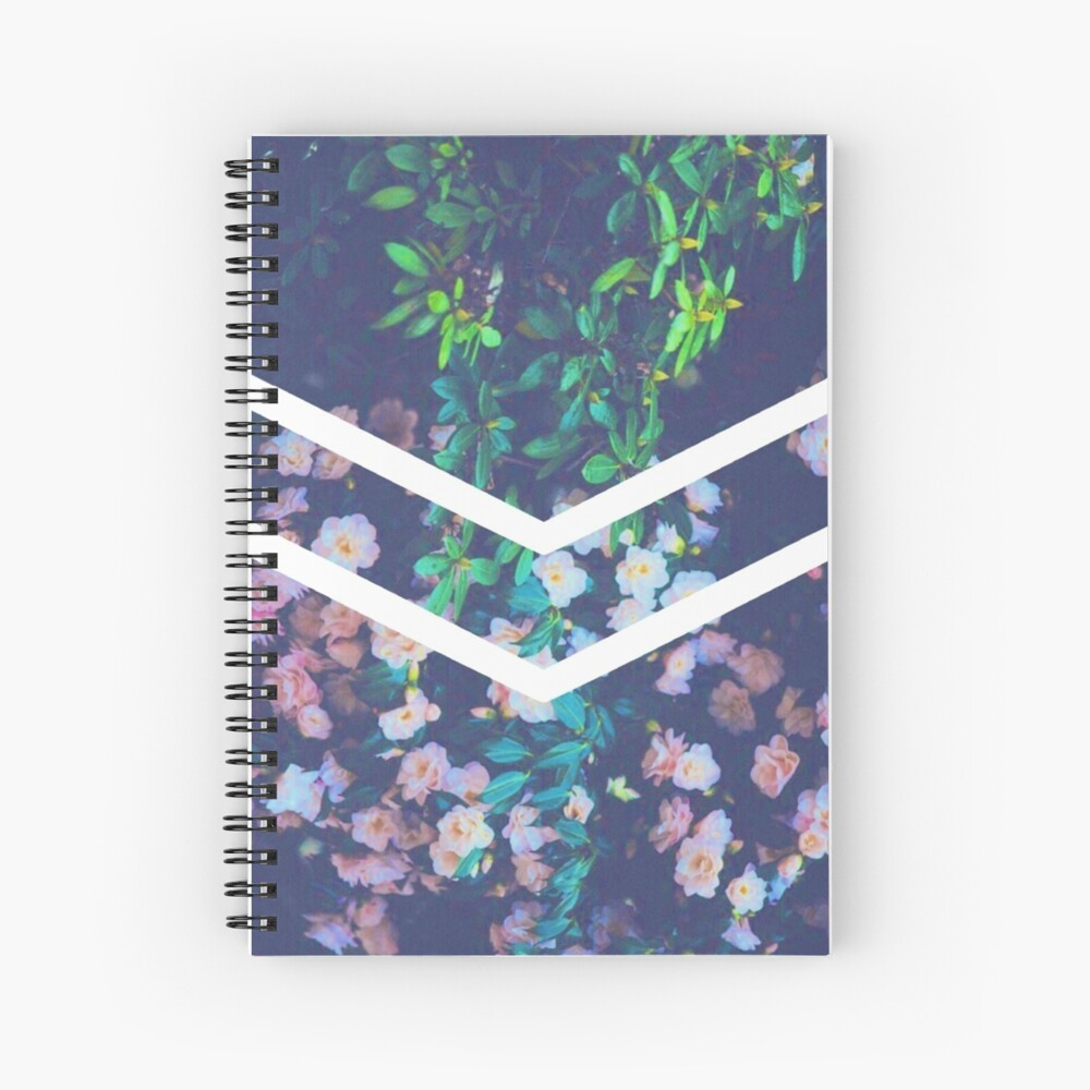 Tumblr Flower White Chevron Aesthetic Spiral Notebook By