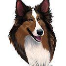 Shetland (Sheltie) Sheepdog Caricature by Char Reed