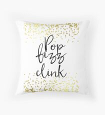 Pop Fizz Clink Sign,Gold confetti Bridal Shower,bubbly bar sign, download sign, Wedding Signs, Wedding Signage, Gold foil Throw Pillow