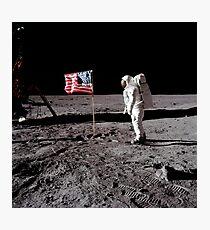 Astronaut salutes the American flag during an Apollo 11 moonwalk. Photographic Print