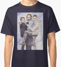 Team Free Will: Misha Collins; Jared Padalecki and Jensen Ackles, watercolor painting Classic T-Shirt