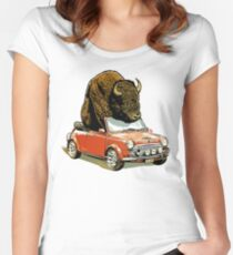 Bison in a Mini. Women's Fitted Scoop T-Shirt