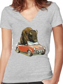 Bison in a Mini. Women's Fitted V-Neck T-Shirt