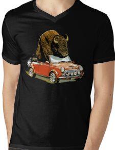 Bison in a Mini. Mens V-Neck T-Shirt