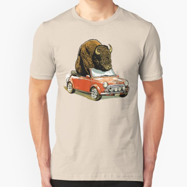 Bison in a Mini. Slim Fit T-Shirt