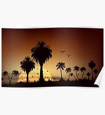 Savanna sunset and sunrise Poster