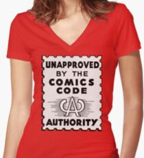 Unapproved by the Comics Code - Red Menace edition Women's Fitted V-Neck T-Shirt