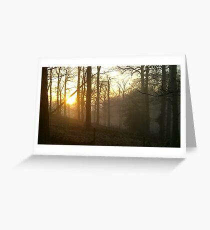 Golden sunset - foggy hillside Greeting Card