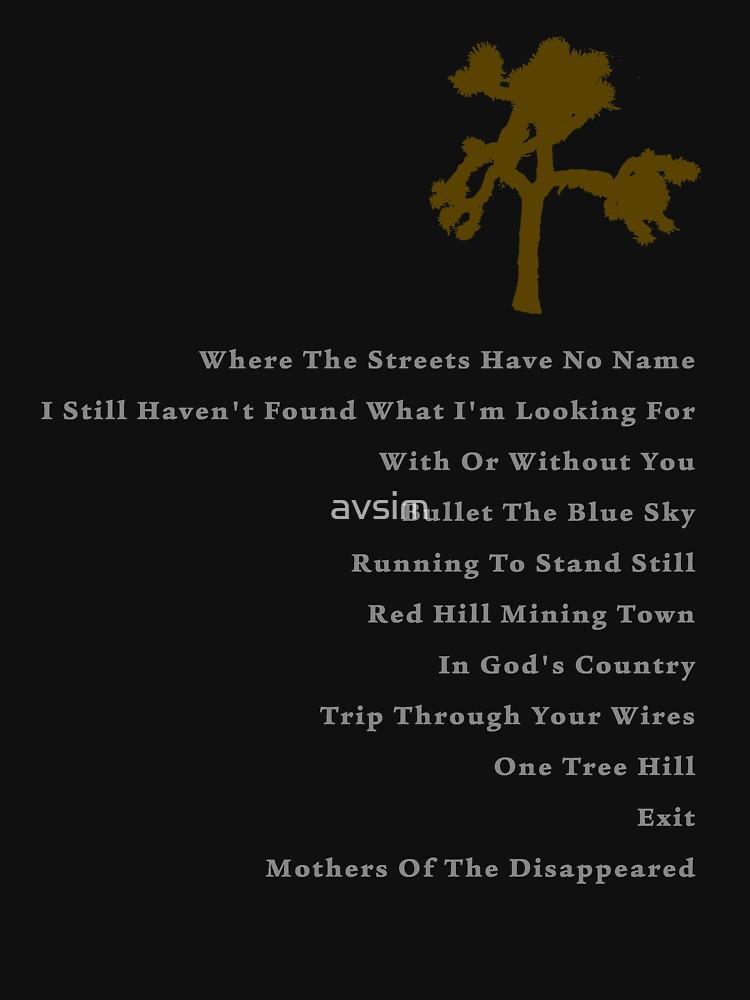 TShirtGifter presents: Joshua Tree Tracklist | Unisex T-Shirt