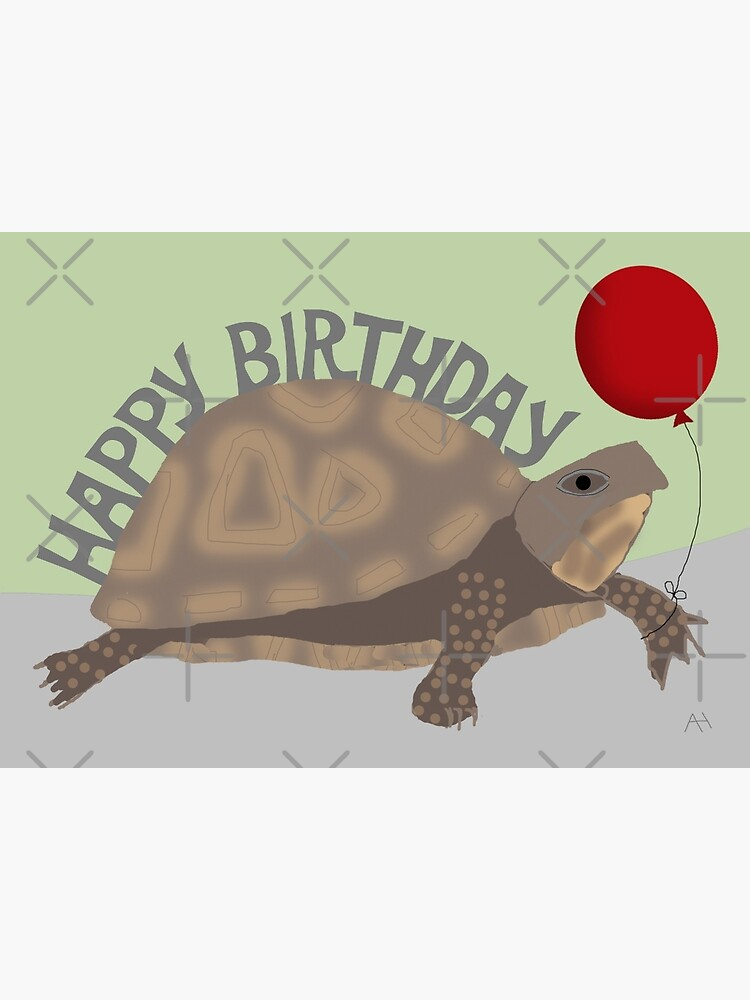 Greeting Card Colorful Animals Pennant Necklace Postcard Illustration Turtle Birthday Happy Birthday Max Turtle  Postcard Kids