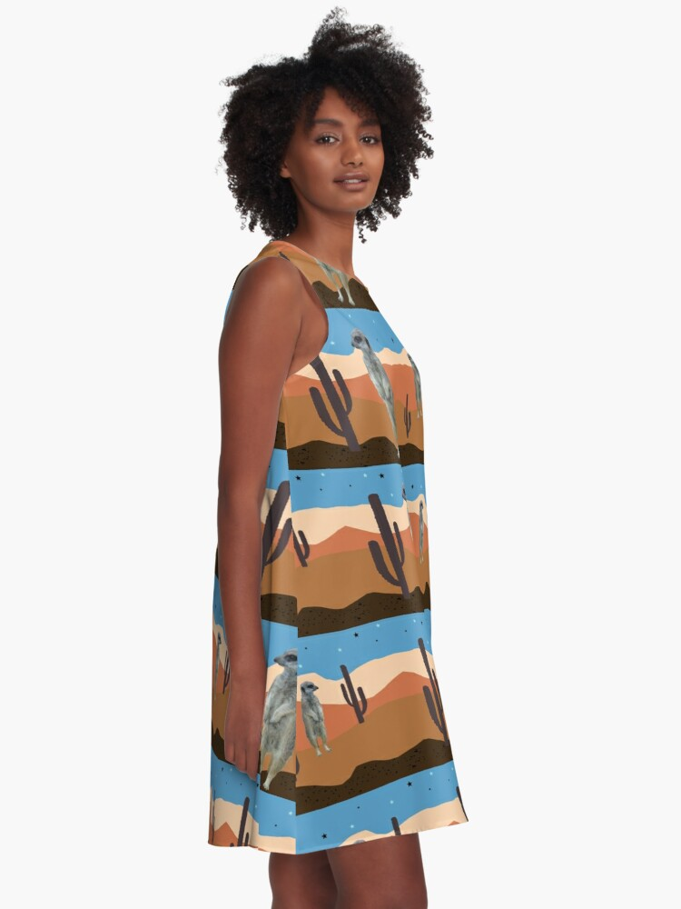 Alternate view of Desert Meercats and Cactus A-Line Dress