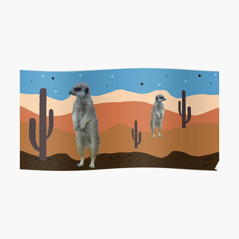 Desert Meercats and Cactus Poster