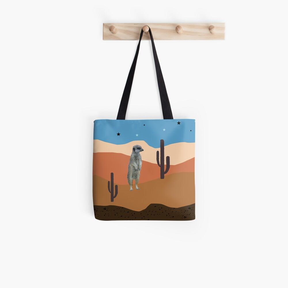 Desert Meercats and Cactus Tote Bag