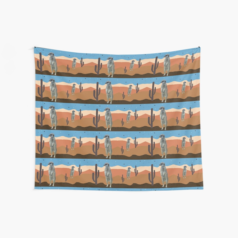 Desert Meercats and Cactus Wall Tapestry