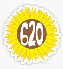 Hand Drawn Kansas Sunflower 620 Area Code Sticker