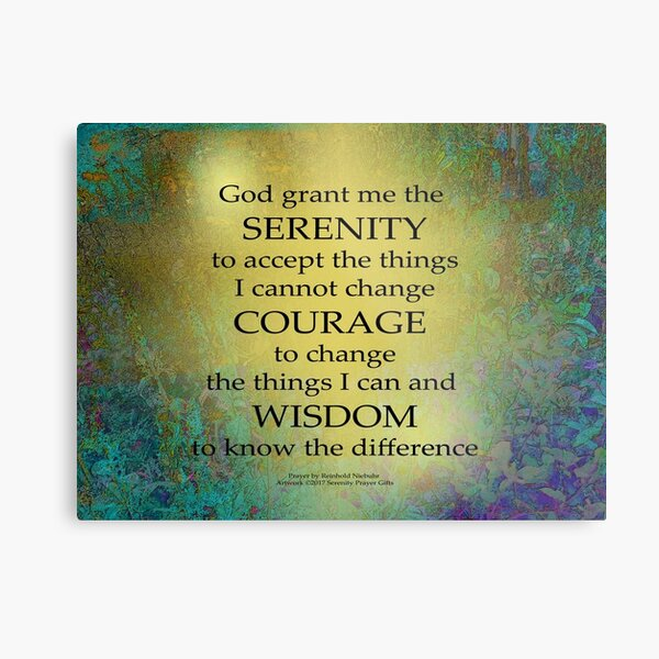 Serenity Prayer Gold on Blue-Green Metal Print